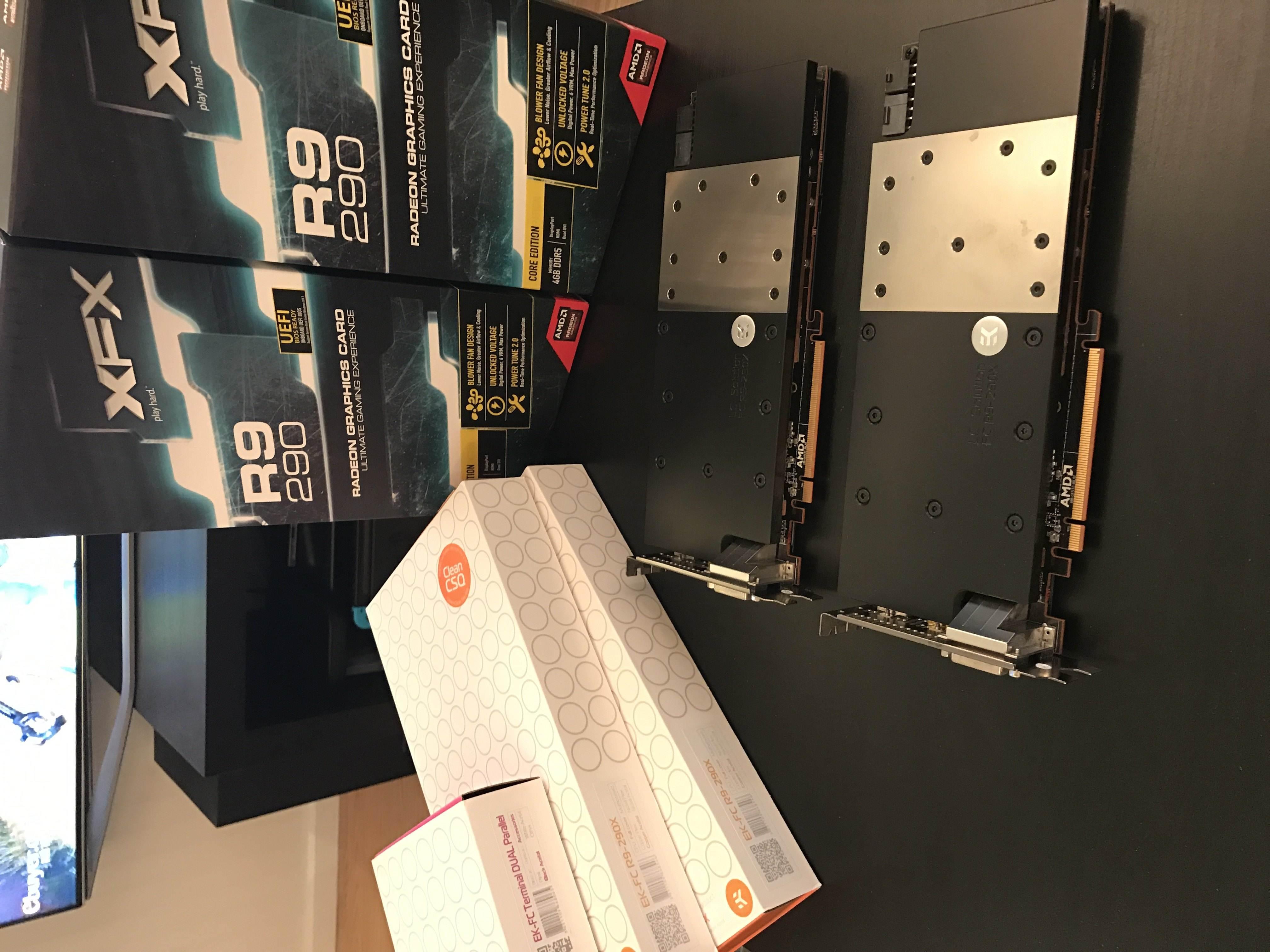 Photo of 2x XFX R9 290 w/ EK Water Blocks and EK Parallel Bridge