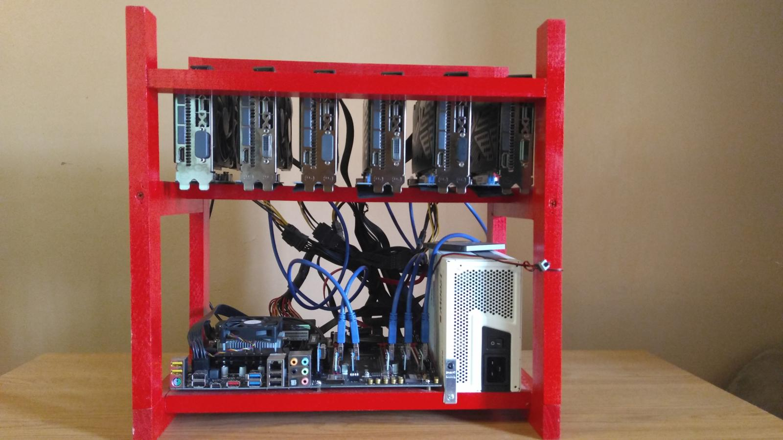 Photo of Ethereum 135Mh/s Mining Rig 6 RX480 Open Air Case ZCash Bitcoin ETC DCR NiceHash