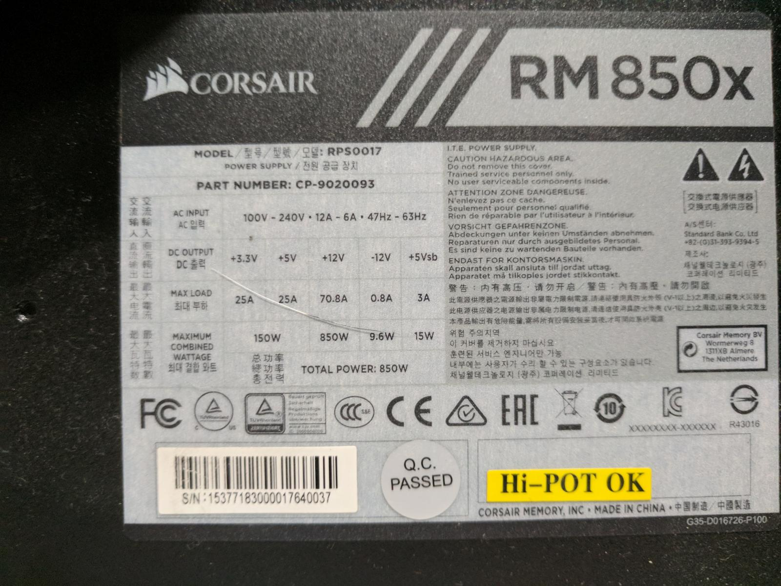 Photo of CORSAIR RMx Series RM850X 850X 80 PLUS GOLD Haswell Ready Full Modular ATX12V &