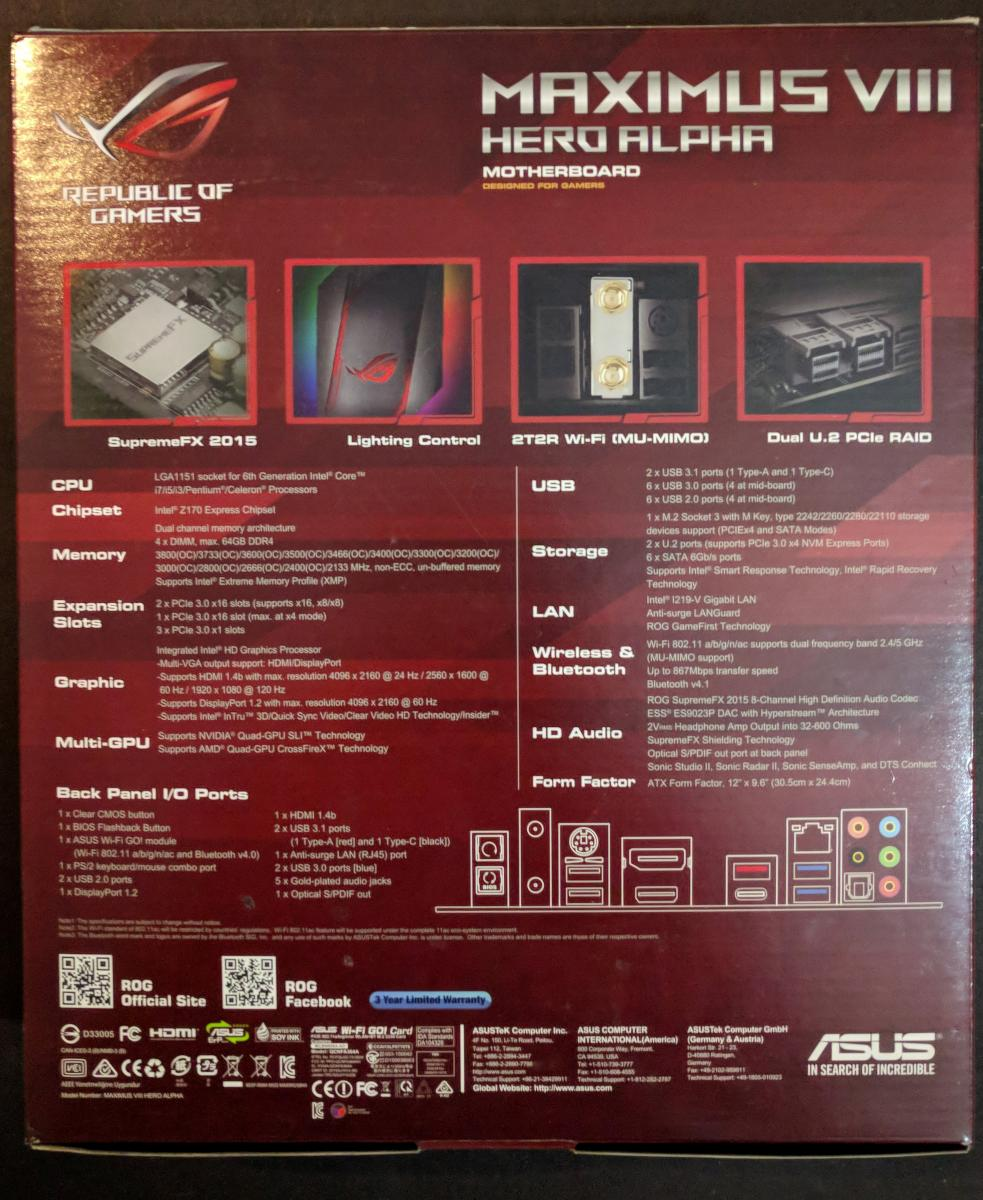 Photo of Asus Maximus VIII Hero Alpha LGA1151 Skylake Motherboard