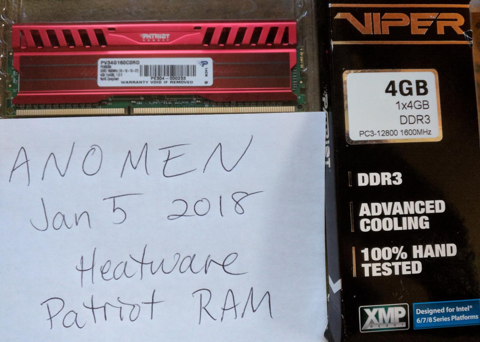 Photo of Patriot Viper 3 4GB DDR3 1600 RAM