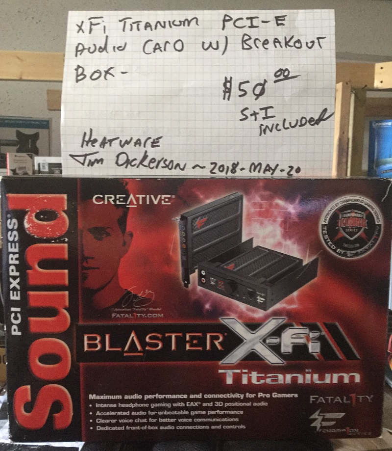 Photo of SB X-Fi Titanium Fatal1ty Champ1on PCI-E Gaming Sound Card w/ Break-out box
