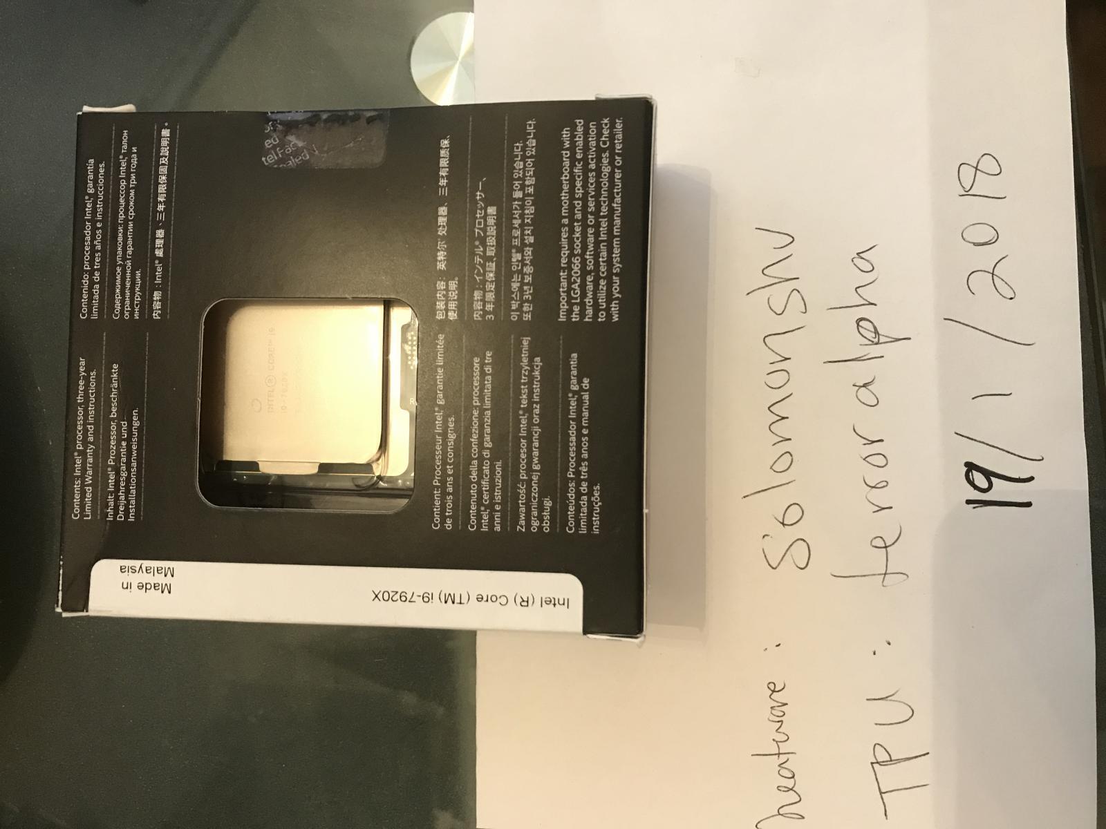 Photo of Intel 7920x in box, 3 year warranty
