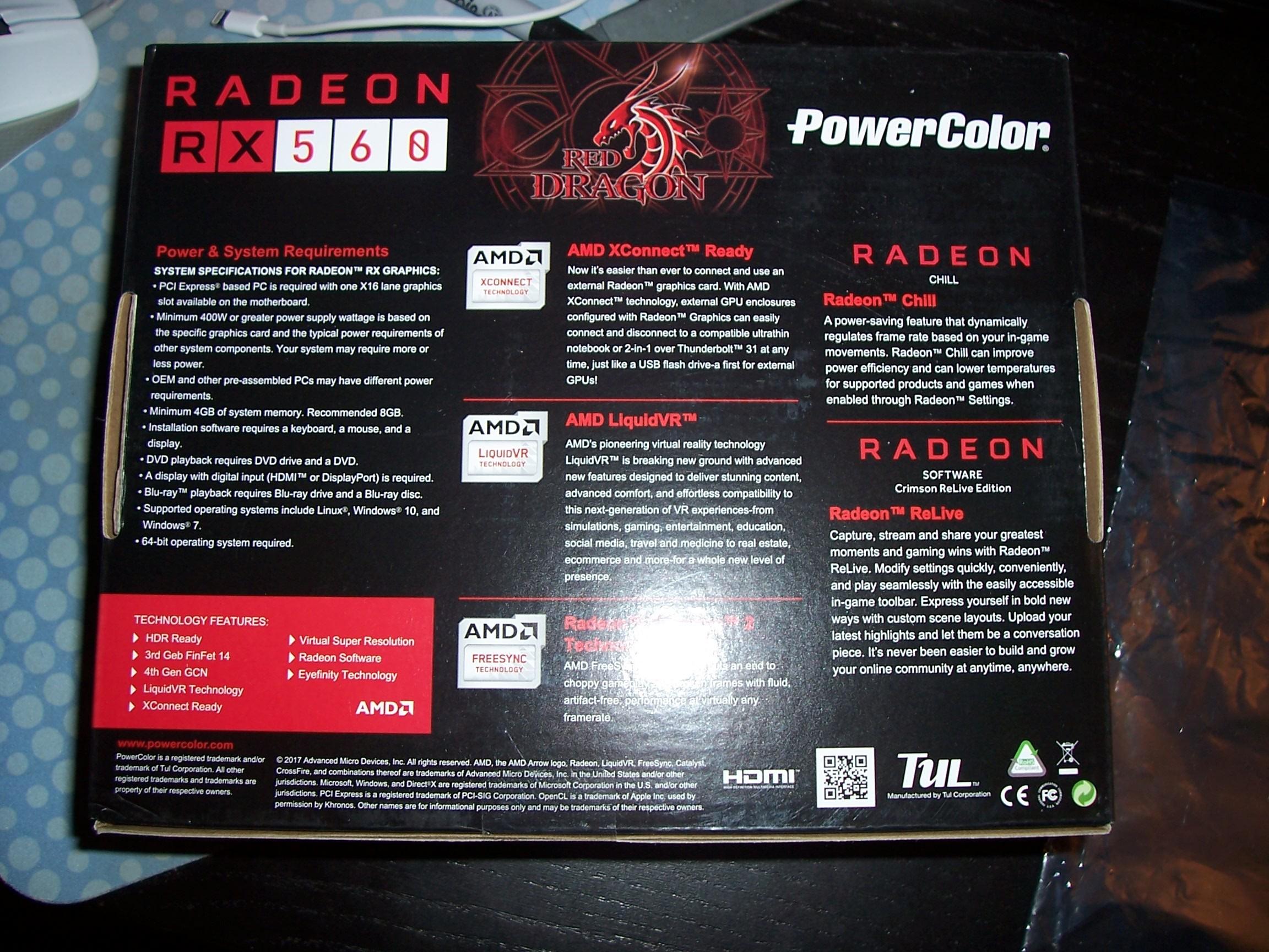 Powercolor Radeon RX 560 4GB Red Dragon AXRX 560 4GBD5-DHV2