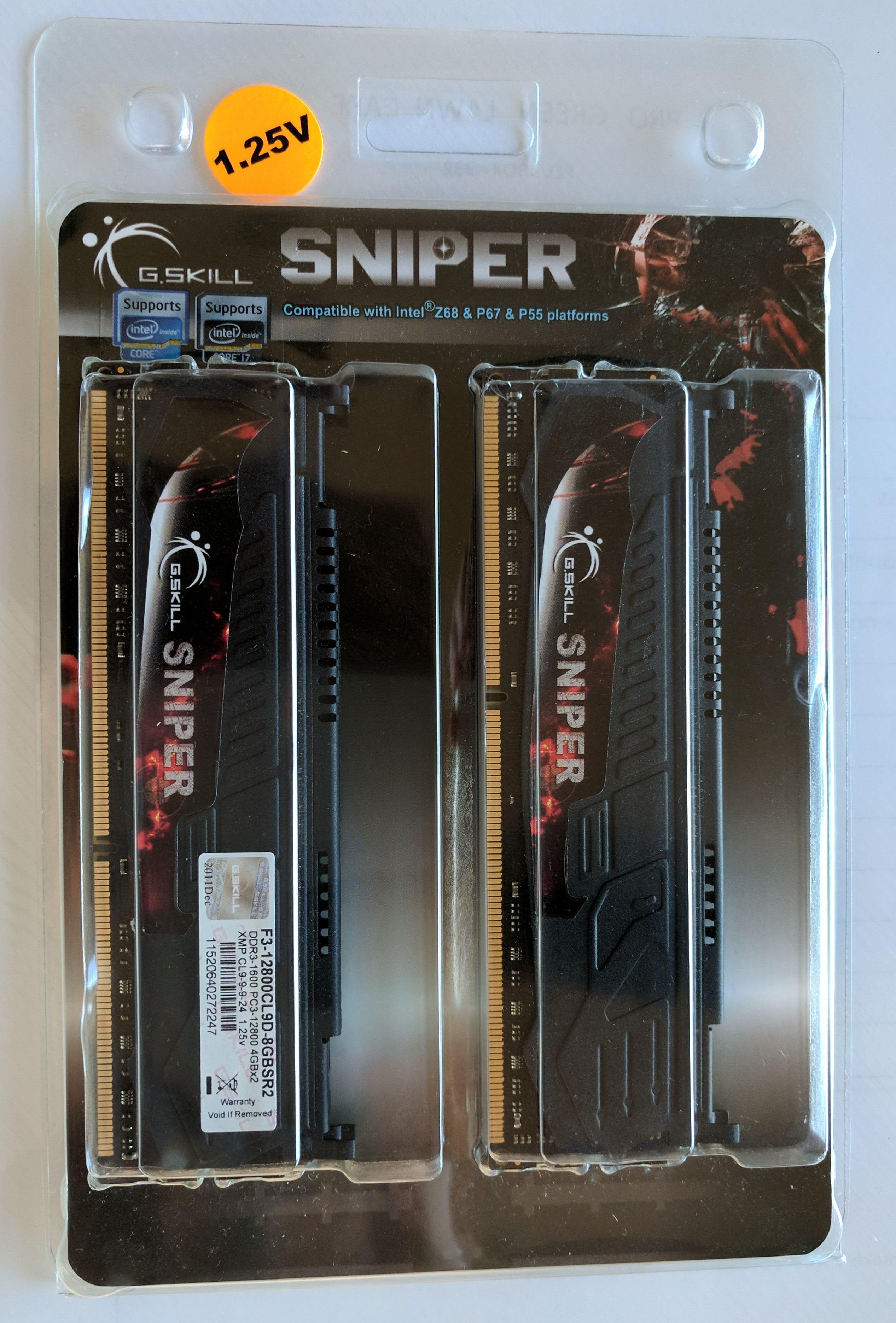 G Skill Sniper 8GB (2x4GB) DDR3-1600 low-voltage 1 25V kit