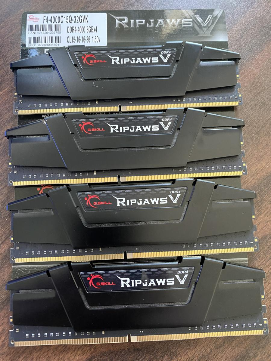 Photo of Brand new G.Skill RipJaws Ram 32gb DDR4 4000Mhz 15-16-16-36 4x8gb Memory