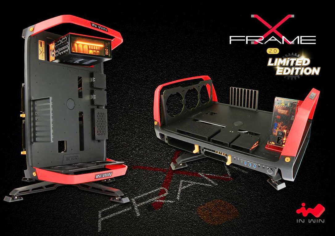 Photo of In Win X-Frame 2.0 Aluminum Open-Air PC Case w/custom 1065w Glass LED PSU.RARE!!