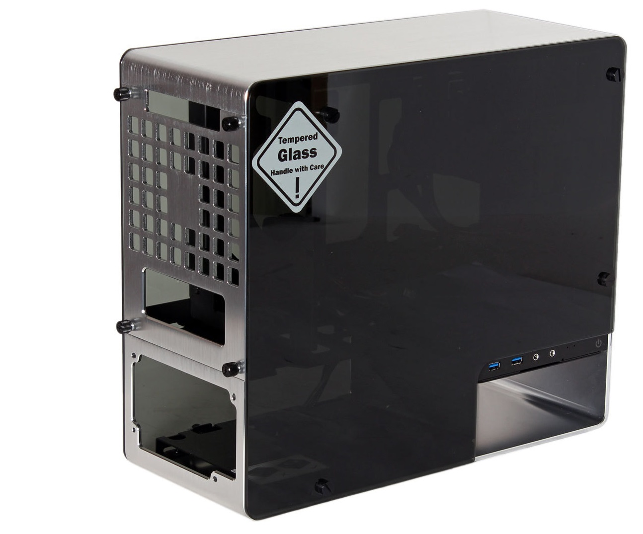 Photo of In Win 901 Silver Aluminum RARE ITX Glass Case.Used in Box. MINT!