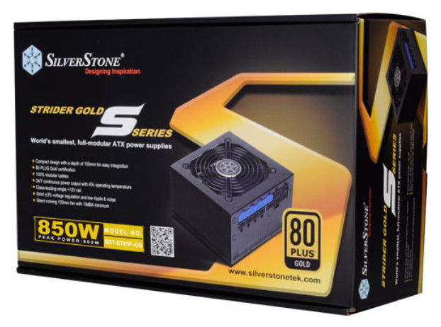 Photo of Silverstone Strider 850w Gold Compact PSU w/Short Cable Kit in Box.