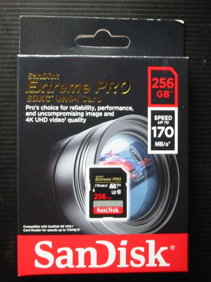 Photo of SanDisk Extreme Pro 256GB SDXC 4K V30 video speed U3 card sealed in retail box