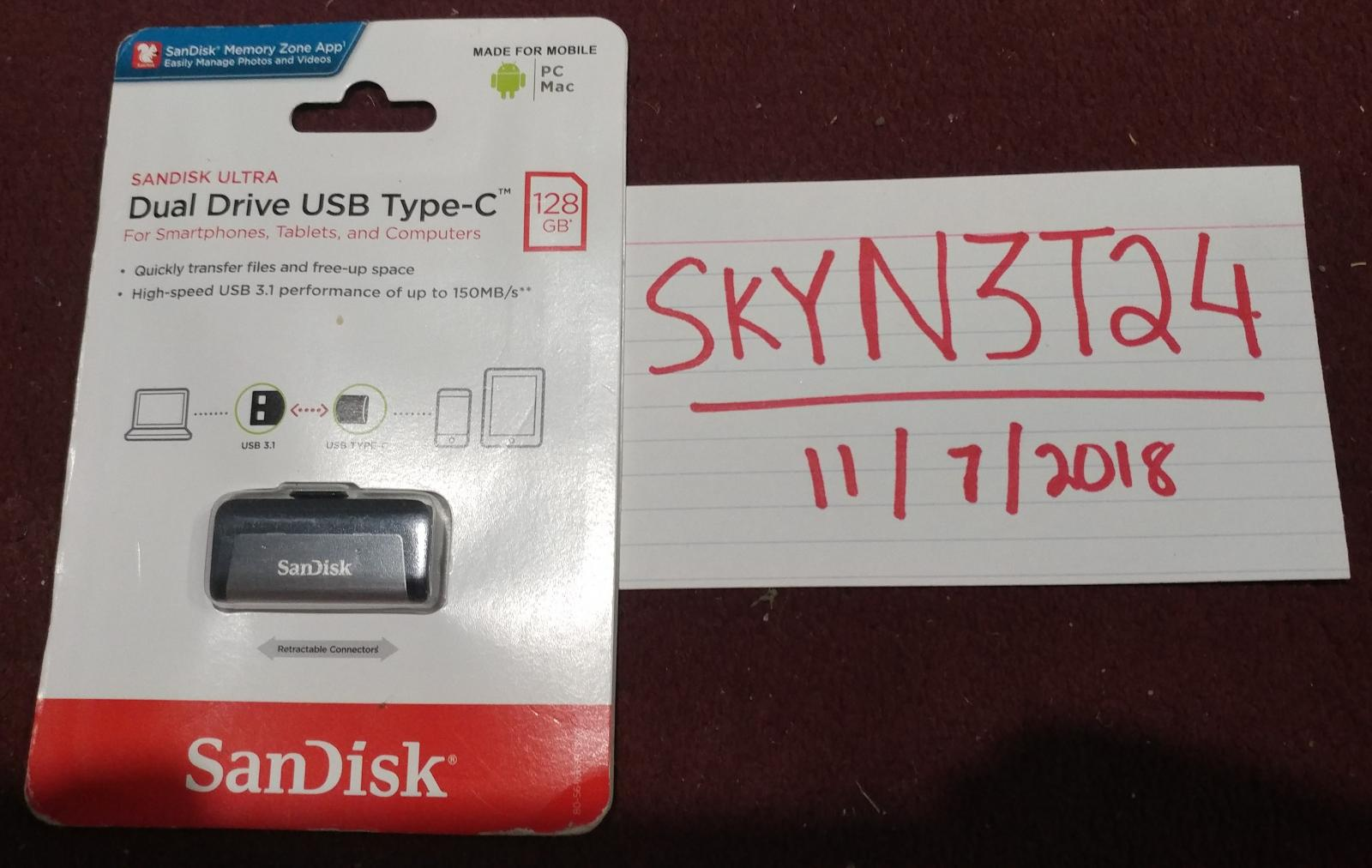 Photo of SanDisk 128GB USB 3.1 Type-C Mini Flash Drive.Used in Box!