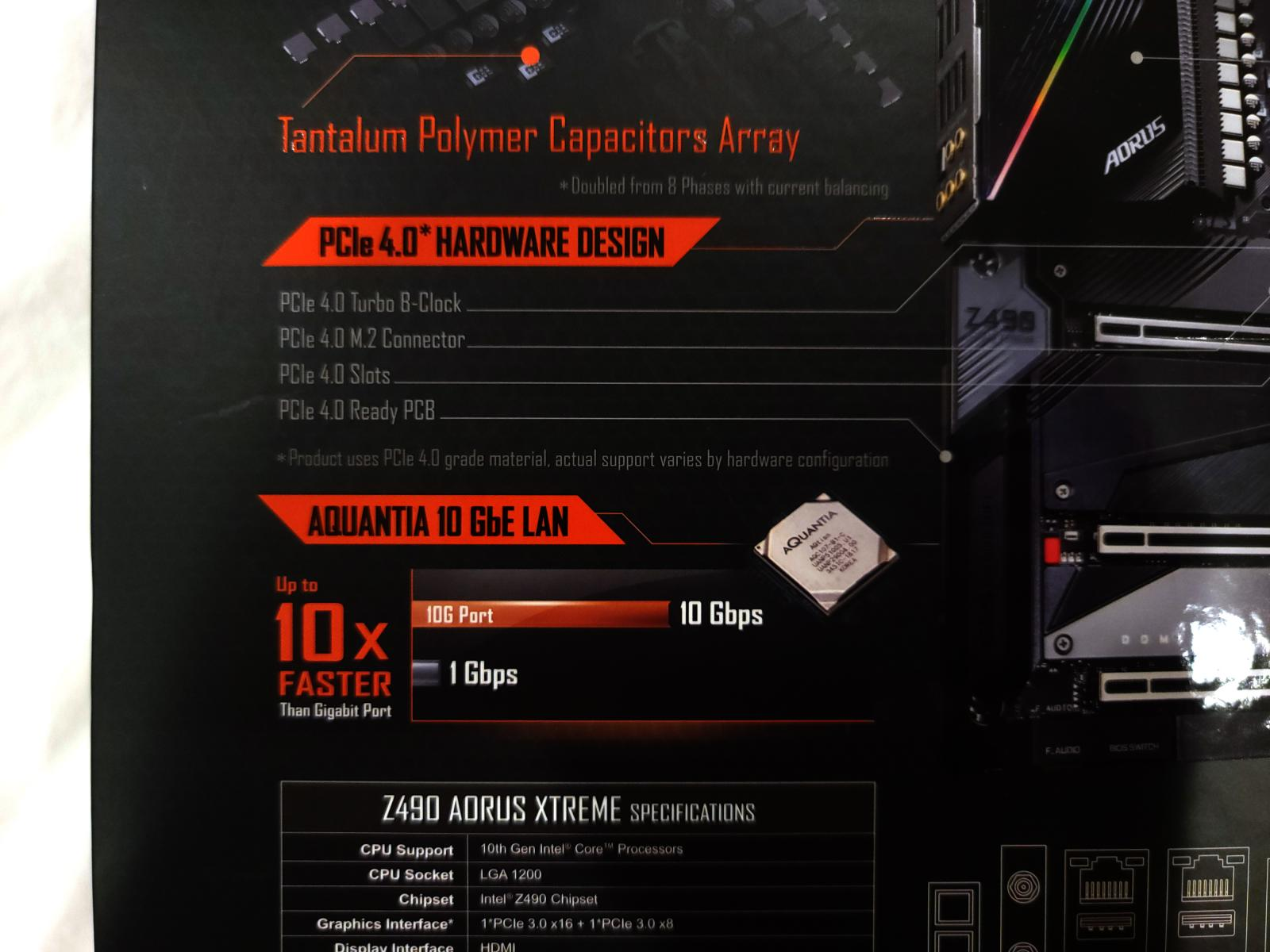 Photo of Gigabyte AORUS Z490 Xtreme, with onboard 10GbE and Thunderbolt 3