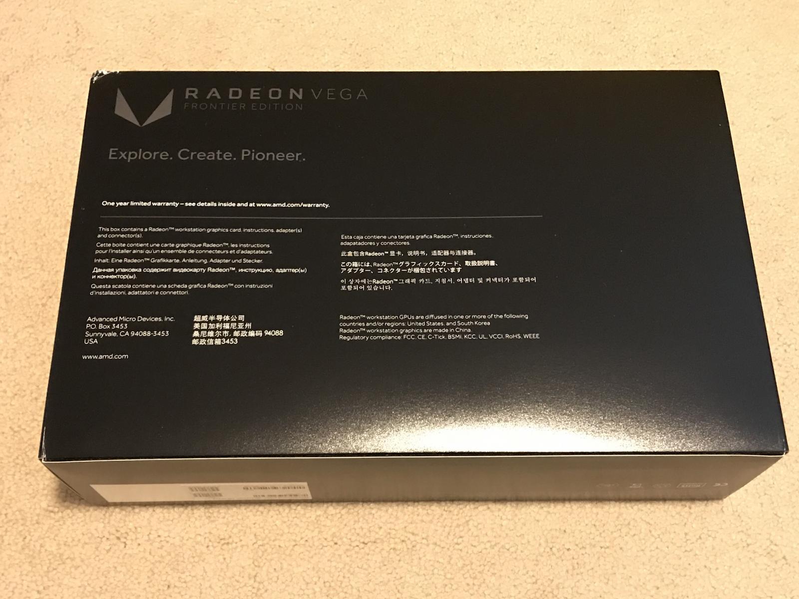 Photo of AMD Radeon Vega Frontier Edition 100-506061 16GB Graphics Card - Brand New