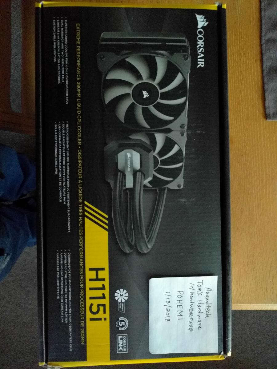 Photo of Corsair H115i AiO cooler with unused fans and lapped coldplate!