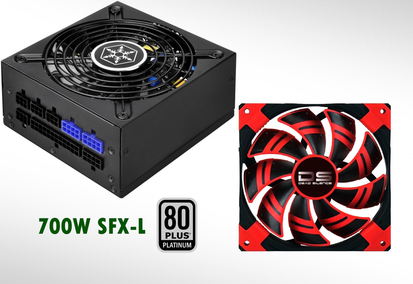 Photo of Silverstone Platinum 700w SFX-L Power Supply +140mm Pressure Red LED Fan