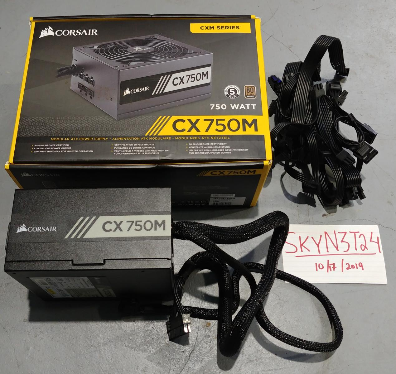 Photo of Corsair CX750M Semi-Modular 750w Bronze Power Supply.Used