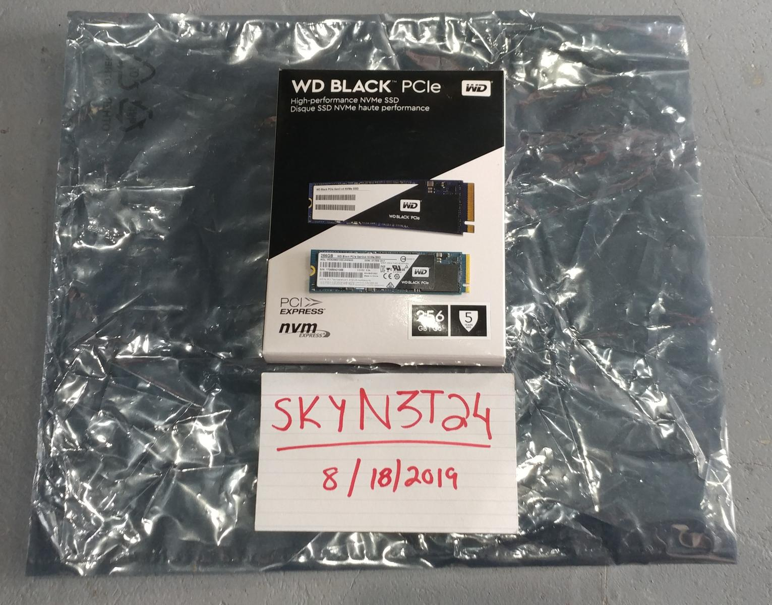 Photo of WD Black 256GB M.2 NVMe PCI-e SSD with Windows 10. In Box